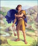 David faces Goliath with his sling I Samuel 17:42